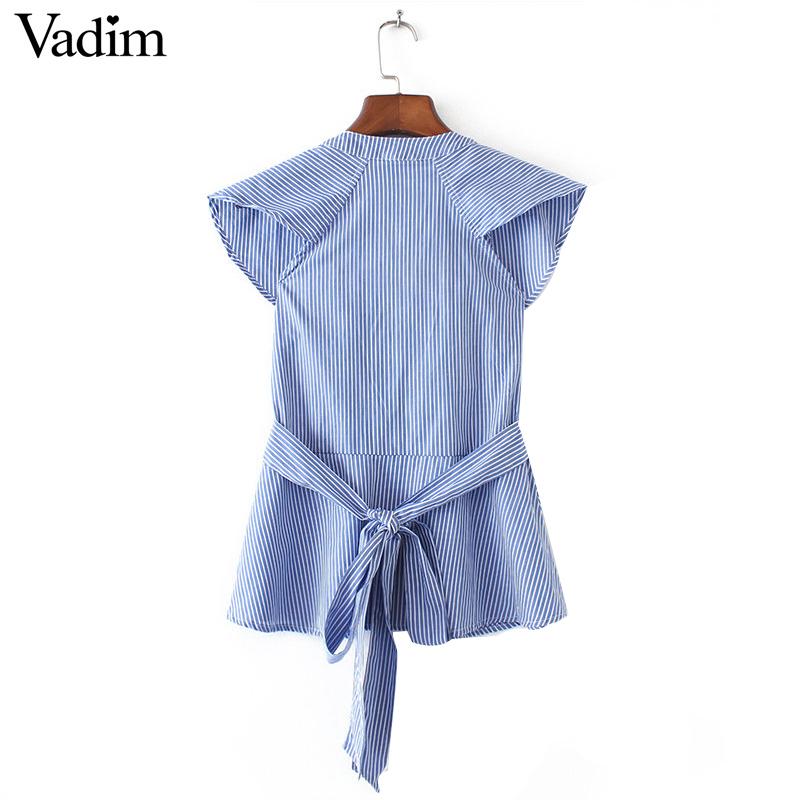 HTB1 NkXQXXXXXcAXVXXq6xXFXXXb - Women sweet ruffles striped blue v-neck short sleeve