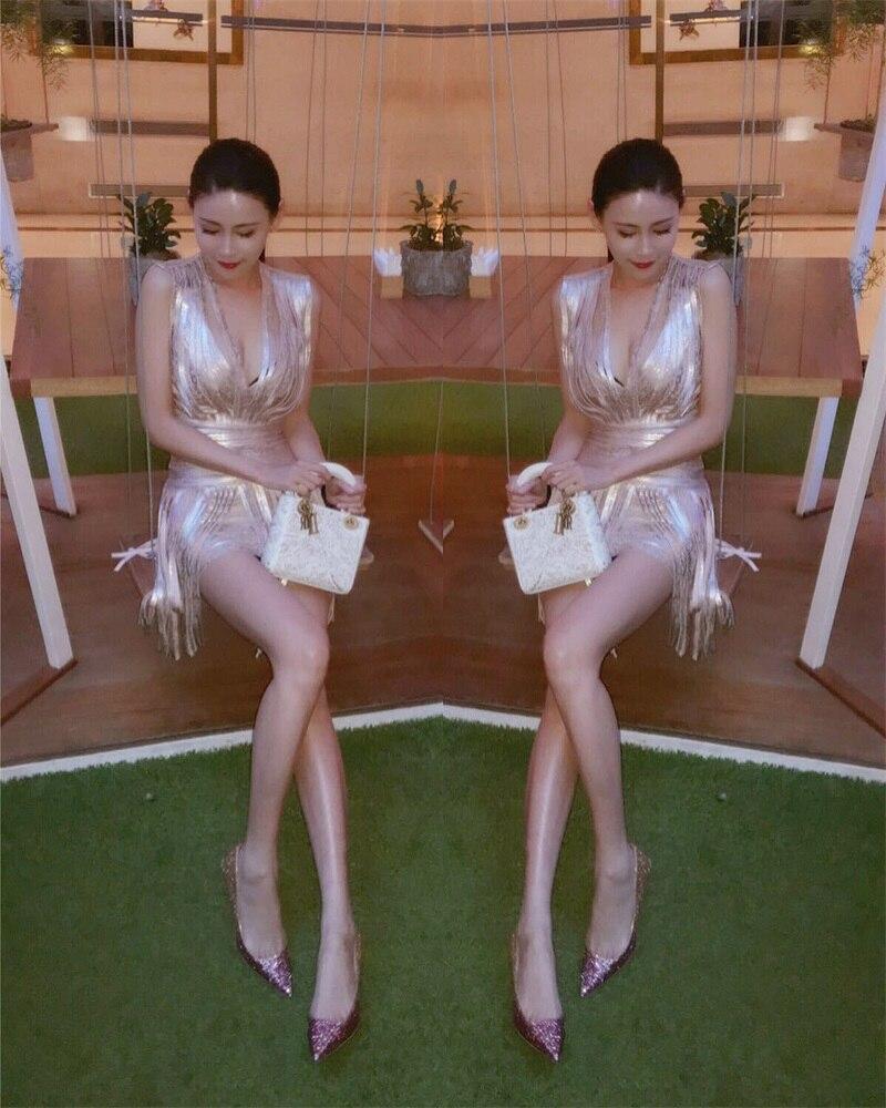 Feuille Bandage Tassel Service Gold Impression Nouveau D'or Paillettes Cou Pour 2018 Celebrity Robe V Fringe Femmes Avec Parti Piste pIC7xZnqp