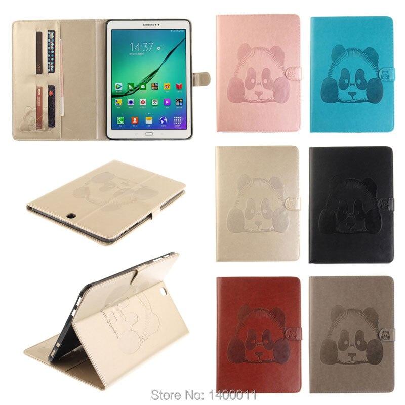 imágenes para Calidad de la Panda 3D Del Soporte Del Tirón Funda de piel Para Samsung Galaxy Tab S2 9.7 T815 T810 SM-T815 Tablet Pc Casos Contraportada y Ranuras Para Tarjetas