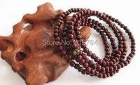 10 шт. / много 216 * 4 5 6 мм будизм сандаловое дерево бусины браслеты тибетский буддийский молитва бусины будда мала влюбленных подарок