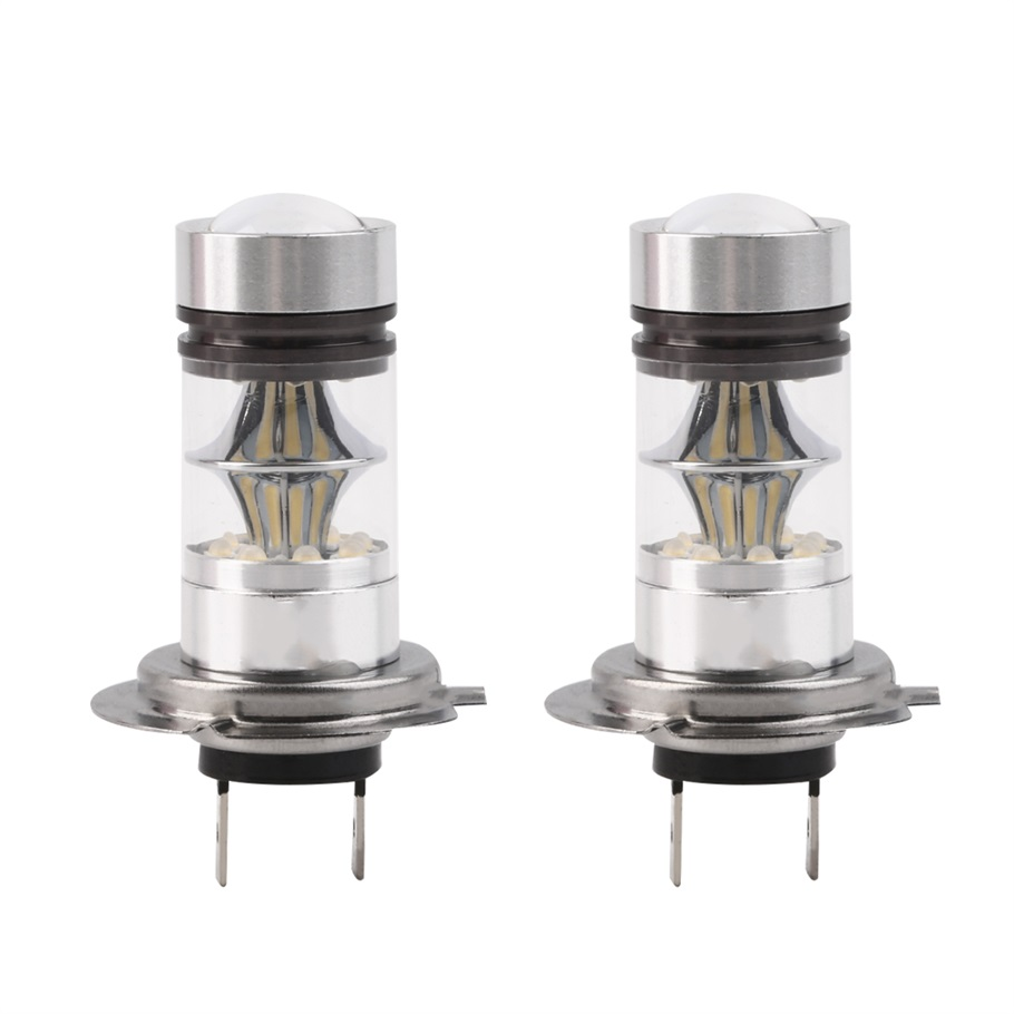 2Pcs H7 100W High Power COB LED Auto Car Headlight DRL Fog Driving Light lamp 20 SMD Projector  Bulbs HID 6000K 12v car styling icoco 12v led car auto drl fog lights headlight lamp bulb 2pcs hid white high power 9004 hb1 2835 smd