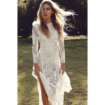 c4df0ebd9 Ordifree 2019 de verano las mujeres vestido de fiesta Vintage manga larga  piso longitud Sexy sin espalda Maxi vestido de encaje blanco