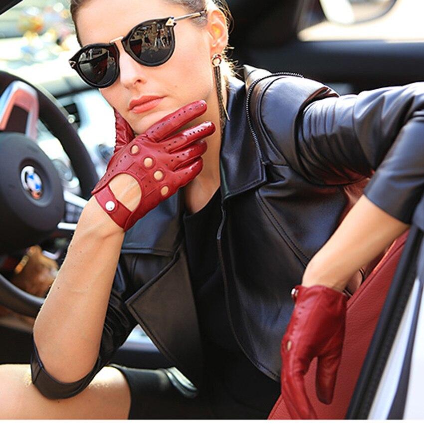 Venta caliente nuevos guantes de cuero para mujer Nappa piel de oveja muñeca sólida transpirable Real moda auténtica guante de conducción envío gratis EL041N - 2