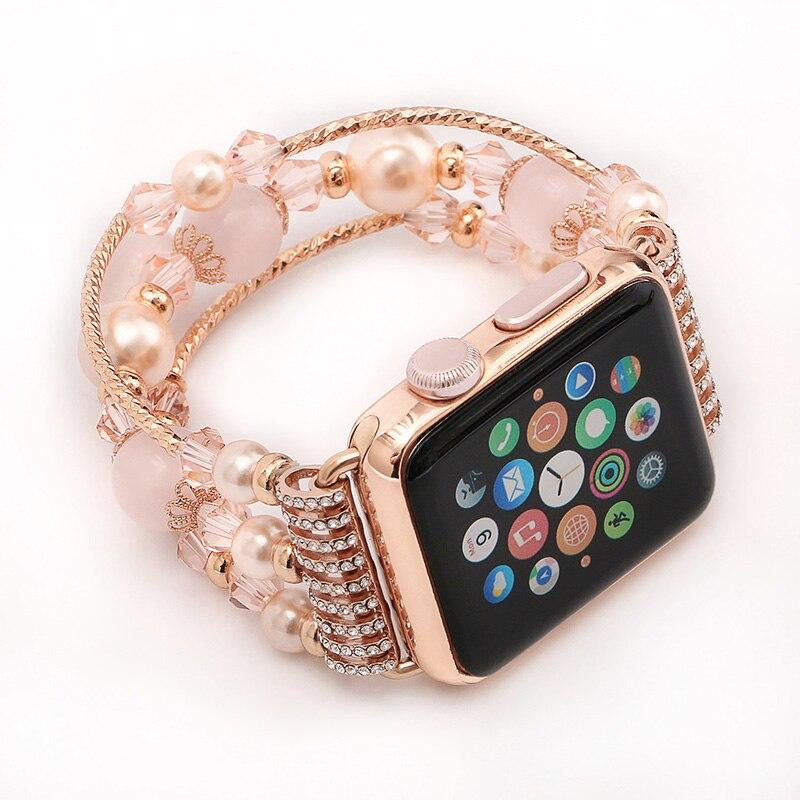 imágenes para SIKAI de Cuentas mujeres Joyería de La Pulsera correa de Reloj de Reemplazo para Apple para iwatch series1 series2 Girls Señora Correa de reloj de 38mm 42mm