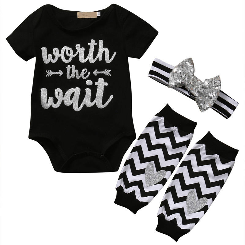 Hot Sale Casual Newborn Infant Toddler Baby Boy Girls Black Clothes Print T-shirt Tops Legs Warmer Waves Heart Outfit 3pcs Set
