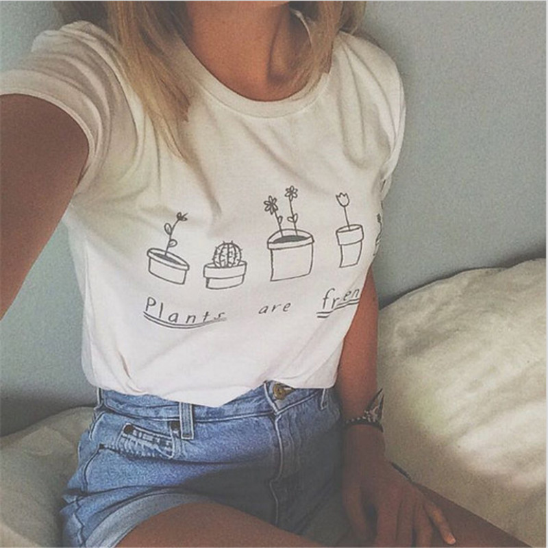 73e371706 New Fashion Summer T shirt Women 2016 Plants Are Friends Printed Graphic  Tees Women Short Sleeve Casual T shirts-in T-Shirts from Women's Clothing  on ...