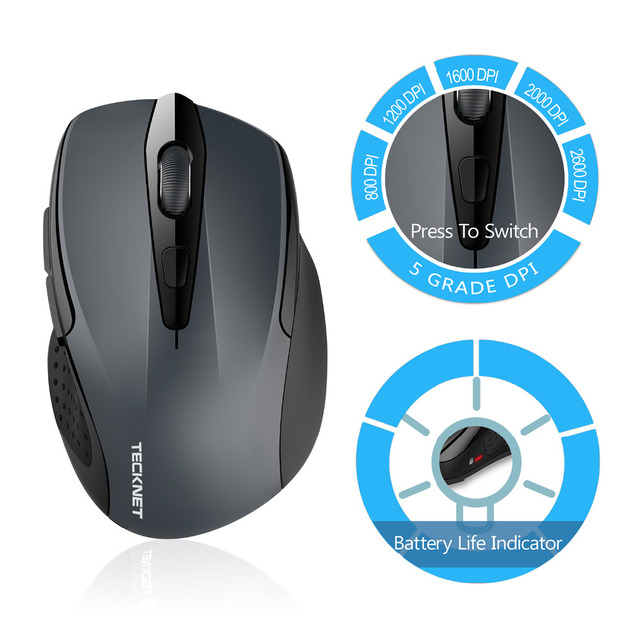 Bluetooth Wireless Mouse 24 Month Battery Life Mice with Battery Indicator 1200/1600/2000/2400DPI for Laptop Windows 10 8 7 XP