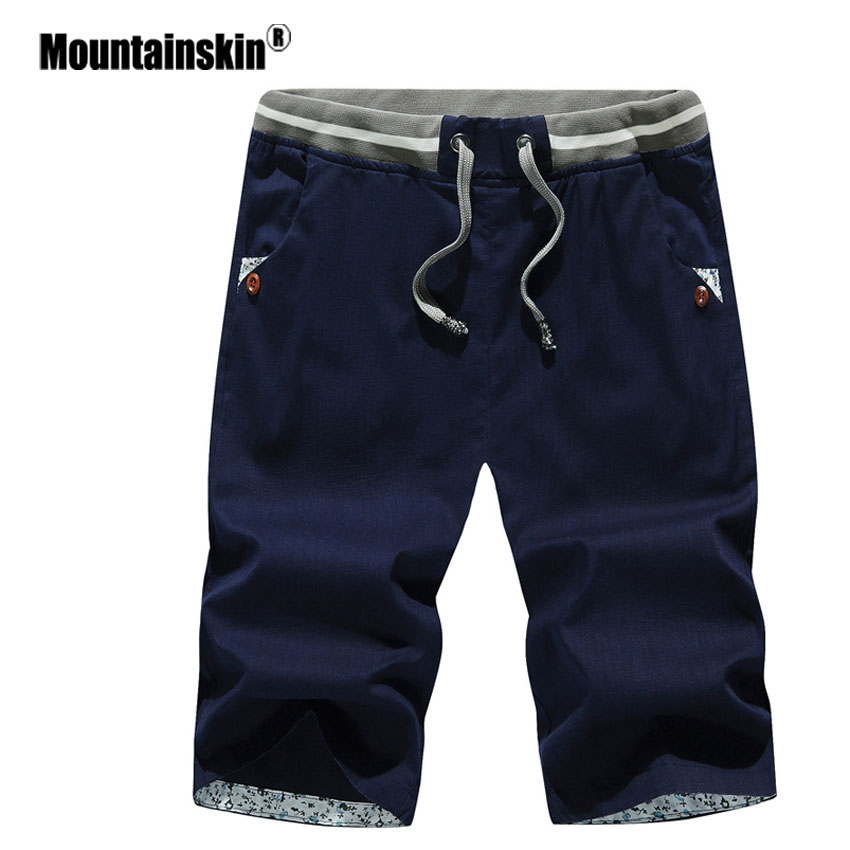 Mountainskin 4XL Men's Summer Shorts Beach Shorts Mens Cotton Casual Male Solid Shorts homme Men Branded Clothing SA422