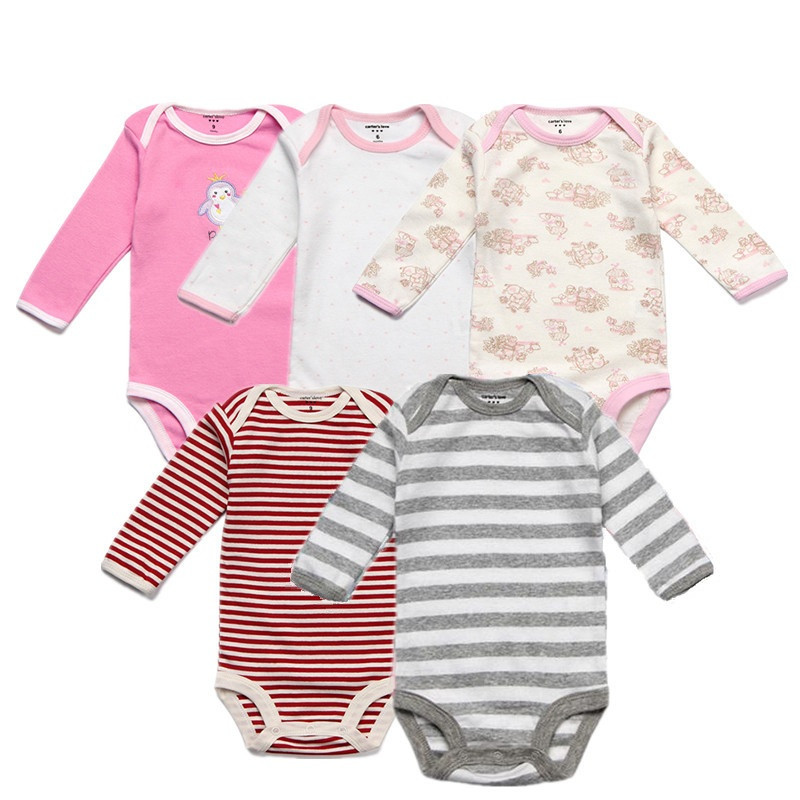5PCS/Lot Spring Baby Boy Clothes Cotton Baby Rompers Autumn Long Sleeve Baby Girl Clothes Overalls Infant Jumpsuits Roupas Bebe