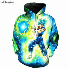 Hipster Anime Dragon Ball Super Saiyan Goku Print 3D Hoodies Men/Women Green Hat Sweatshirts Sportswear Jacket Coat Big size 5XL