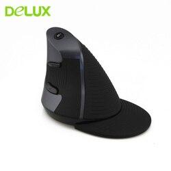 Delux M618 bezprzewodowa mysz pionowa 1600 DPI optyczna USB myszy 5 przycisków ergonomiczna mysz do gier mysz Gamer na PC Laptop