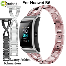 Купить с кэшбэком Luxury Crystal Bracelet WatchStrap For Huawei B5 Smart WatchBand Replacement steel strap Wrist Band Accessories Aluminium Alloy