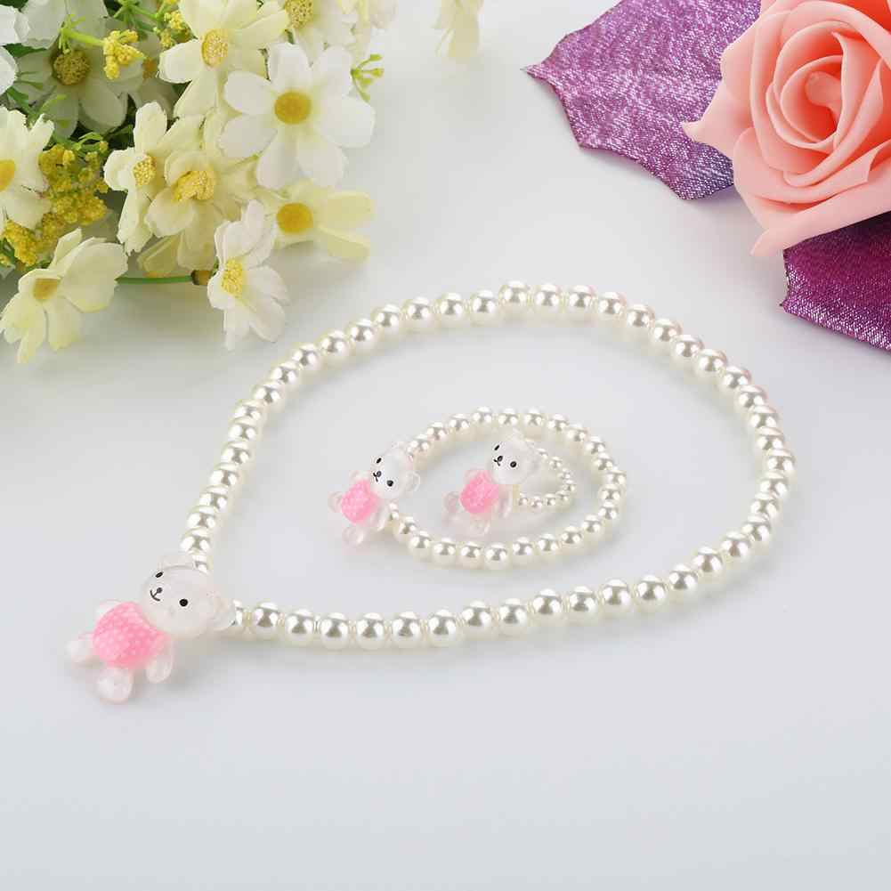 Cartoon Necklace Children Girls Cute Bear Rabbit Pendant Beads Necklace Bracelet Ring Jewelry Set Artificial Pearl Necklace Bear