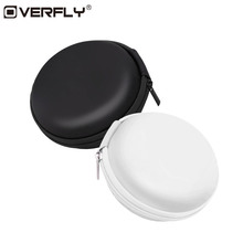 Overfly Portable Case for Headphones Case Mini Zippered Round Storage Hard Bag