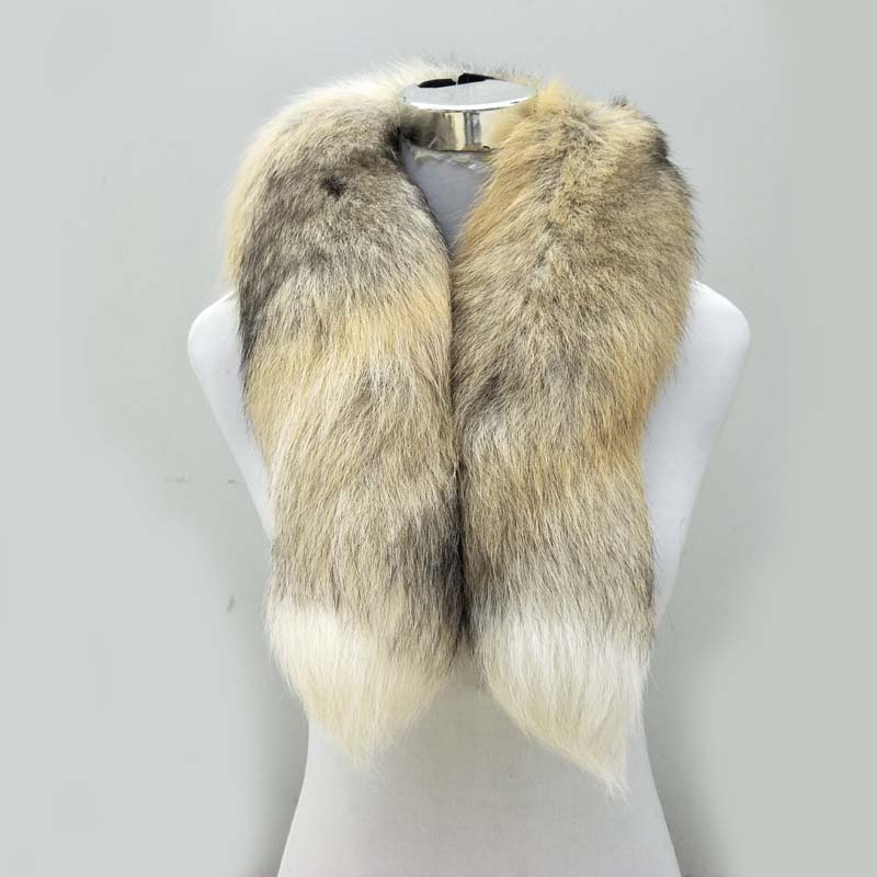Real Fox Fur   Scarf   Women Men Striped Winter Warm 80-90CM Long Tail   Scarf   Fashion Luxury Collar   Scarves     Wraps   Female