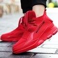 2016 Мода Осень Мужчины Повседневная Обувь PU Кожа Высокой Крышей мужчины Обувь Для Ходьбы Дышащий Зима Любовник Красные Сапоги Botas Синий ML21