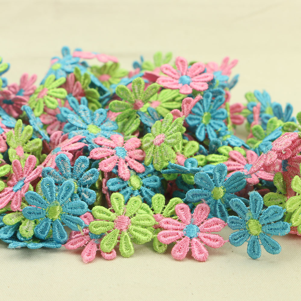 2 Yard 25mm Polyester String Colourful Flower Lace Meter Trim Sewing Dentelle DIY Cord Lace Hair Jewelry Garment Accessories