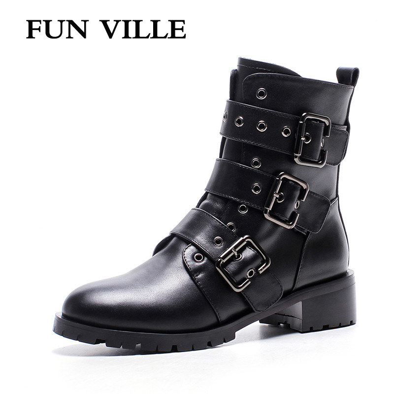 FUN VILLE 2017 New Fashion Autumn winter Women Ankle Boots Genuine leather Motorcycle boots black Flat shoes for woman Round toe front lace up casual ankle boots autumn vintage brown new booties flat genuine leather suede shoes round toe fall female fashion