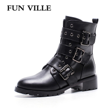 FUN VILLE 2017 New Fashion Autumn winter Women Ankle Boots Genuine leather Motorcycle boots black Flat shoes for woman Round toe