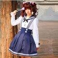 2017 Lolita Meta Preppy Style Navy School Uniform New Design Sailor Uniforms Girls Long sleeve Cotton Shirt High Quality 4 Size