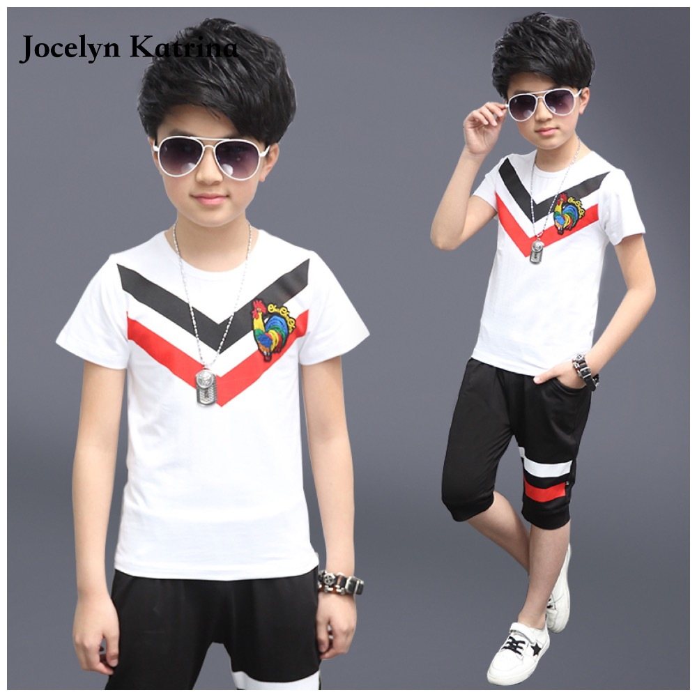 Kids boys short-sleeved suit 2017 new summer children's cotton casual T-shirt big boy Haren shorts clothes sets 5-14 years  цена