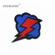 DOUBLEHEE 5cm*5.5cm Embroidered Iron On Patches Nature Blue Clouds Red Lightning Design Delicate Embroidery Patch Badges