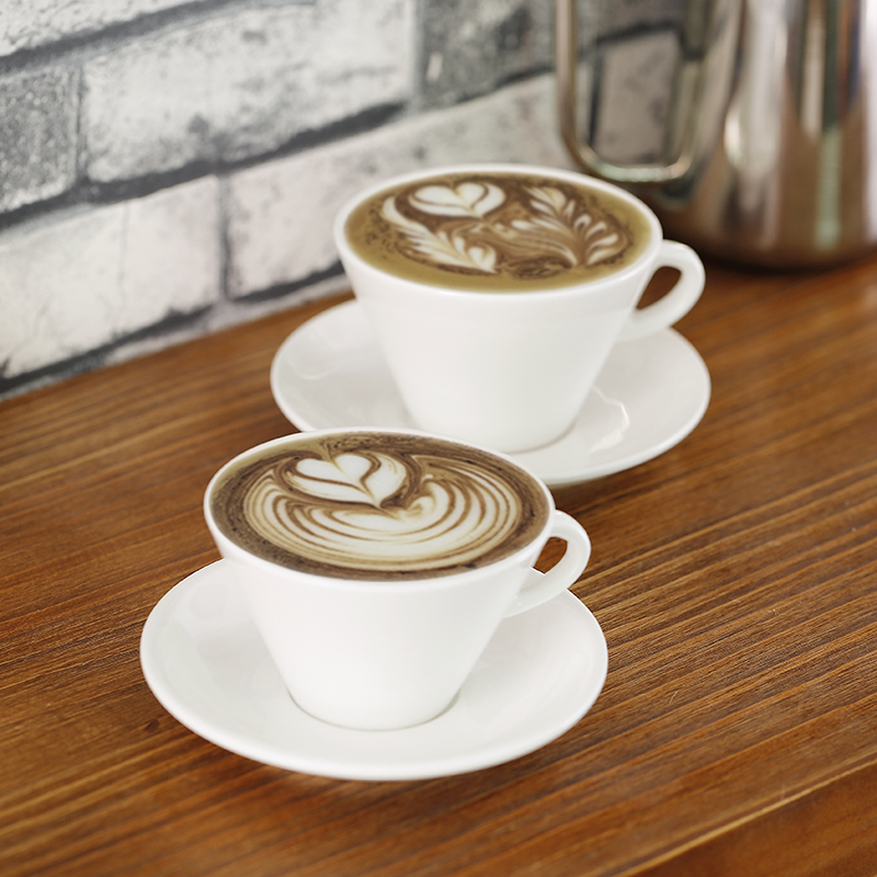 200ml 280ml New Bone China White Ceramic Coffee Cup And Saucer Porcelain Cafe Custom Logo For Garland In Cups Saucers From Home
