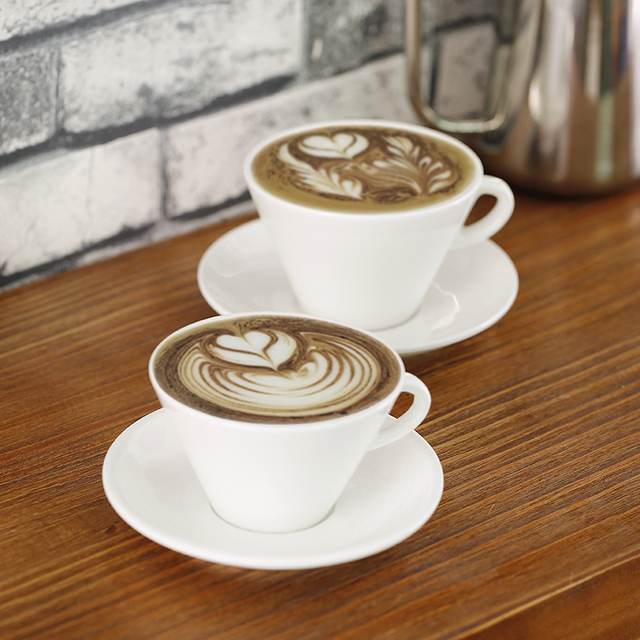 200ml 280ml New Bone China White Ceramic Coffee Cup And Saucer Porcelain Cafe Custom