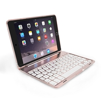 Keyboard Protective Case Aluminum Backlit Bluetooth Keyboard Folio Case 7 Backlight For IPad Mini 1 2