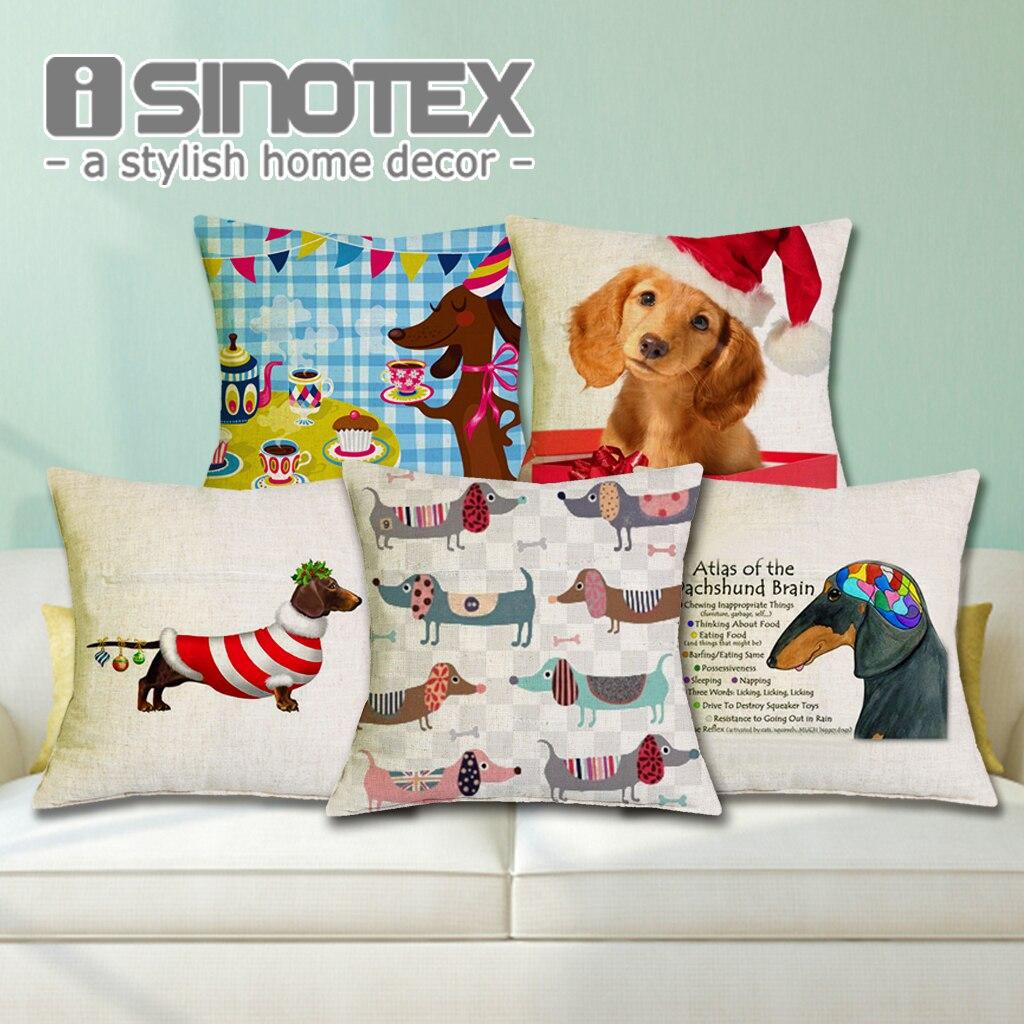 Възглавница Коледен фестивал Дакел 45X45см Честит рожден ден Наденица за кучешка възглавница Нова Година Подарък Спалня Диван