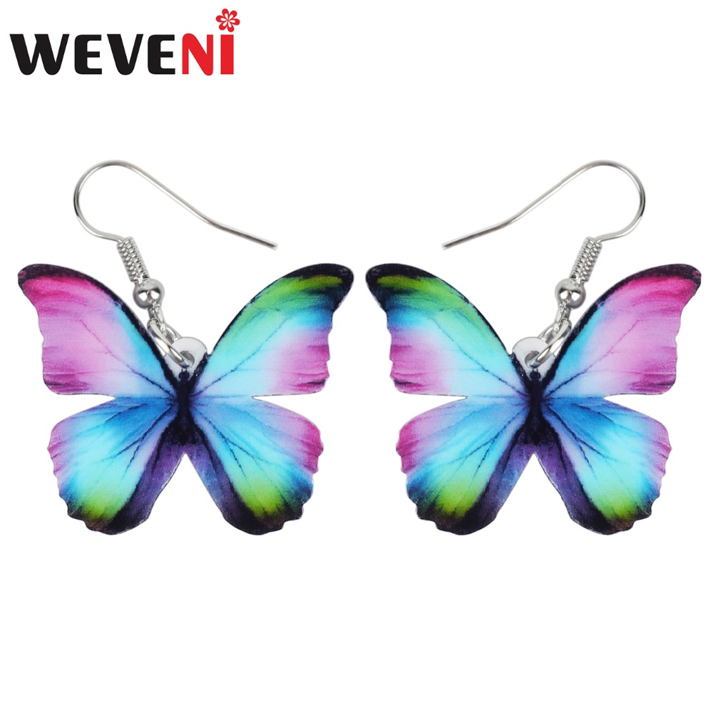 WEVENI Acrylic Fashion Floral Butterfly Earrings Big Dangle Drop Novelty Insect Jewelry For Women Girls Ladies Teens Kids Gift