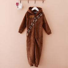 New Star Wars Chewbacca Brown Onesie Jumpsuit Polar Fleece Hoodie Onepiece Kids Sleepsuit(China)