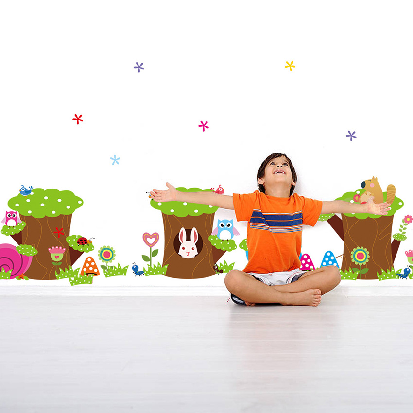 Cartoon Flower Tree Wall Stickers For Kids Room Decoration