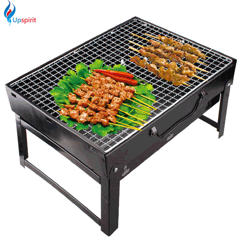 New BBQ Grills 35*27*20cm Folding Outdoor Black Steel Hiking Camping Charcoal Grill Picnic BBQ Grill For Barbecue Churrasqueira ...