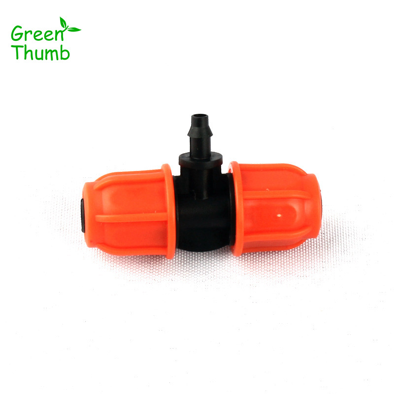 40pcs Green Thumb 8/11mm to 4/7mm Garden Hose Barbed Tee Thread Lock Reducing Connector for Micro Drip Irrigation Couplings