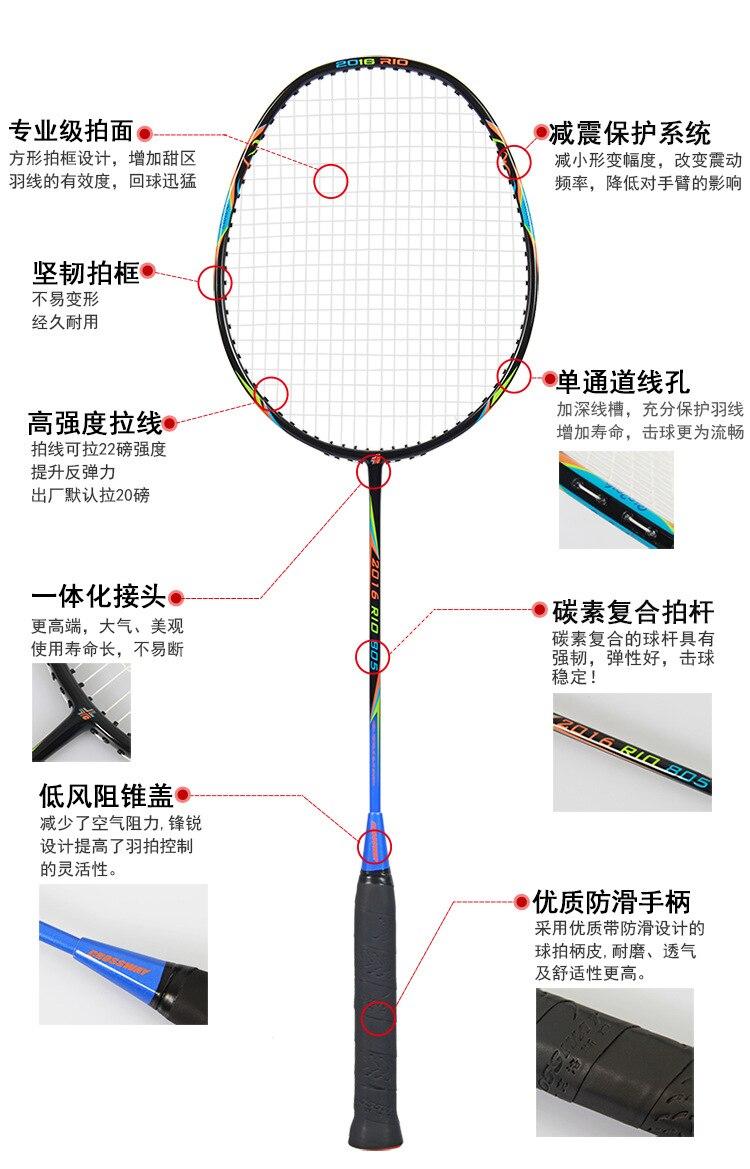 Crossway 2Pcs Best Championships Badminton Rackets Doubles Carbon Lightest Shuttlecock Racquets Set Sports Rio Olympics Memorial 15
