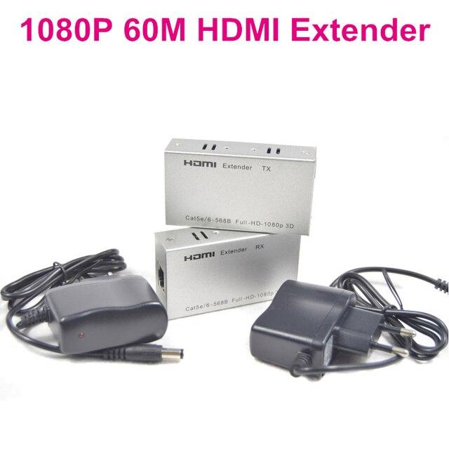 BrankBass 1080 P HDMI Extender HDMI Передатчик Приемник по Cat 5e/6 RJ45 Ethernet Конвертер 1080 P до 196ft 60 М + адаптер питания