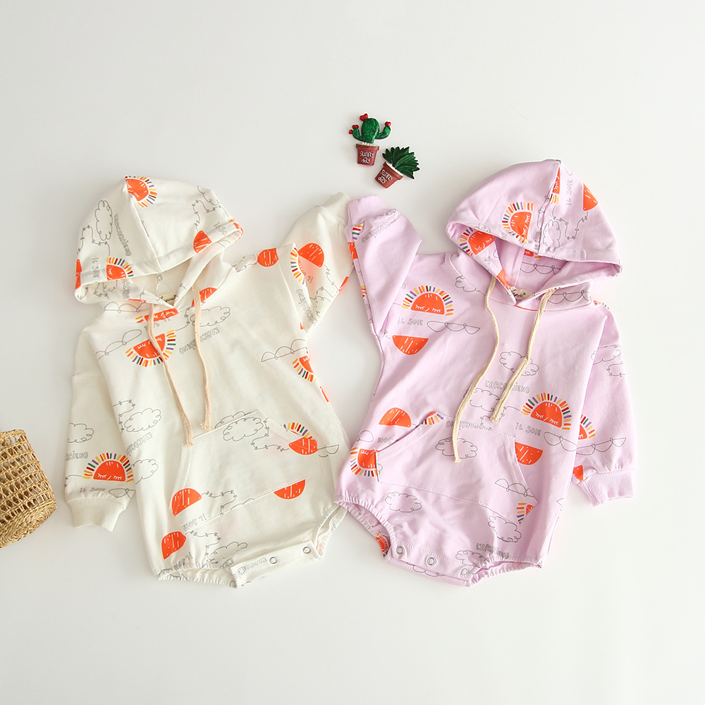 Girls Baby Rainbow Cloud Print Hooded Pocket Romper Clothing New Spring Autumn Lovely Kids Beige Purple Infant Rompers(China)