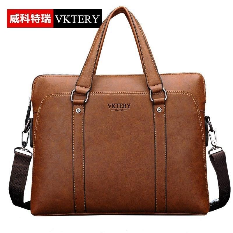 ФОТО VKTERY Fashion Men Luxury Brand PU Leather Business Briefcase Handbags Mens Messenger Bag Casual Shoulder Bag Crossbody Bag