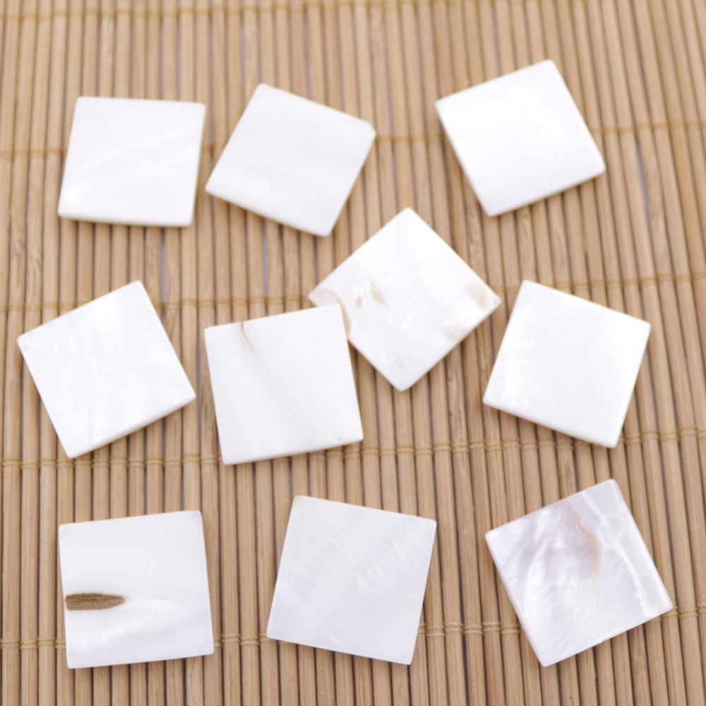 Купить с кэшбэком 10 PCS 20mm Square Shell Natural White Mother of Pearl Rings Jewelry Making DIY