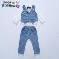 Baby Boys Clothing Sets Children Gentleman Wear Soft Long Sleeve Shirt + Plaid Waist Coat + Pants Kids 3pcs Formal Clothes Suits