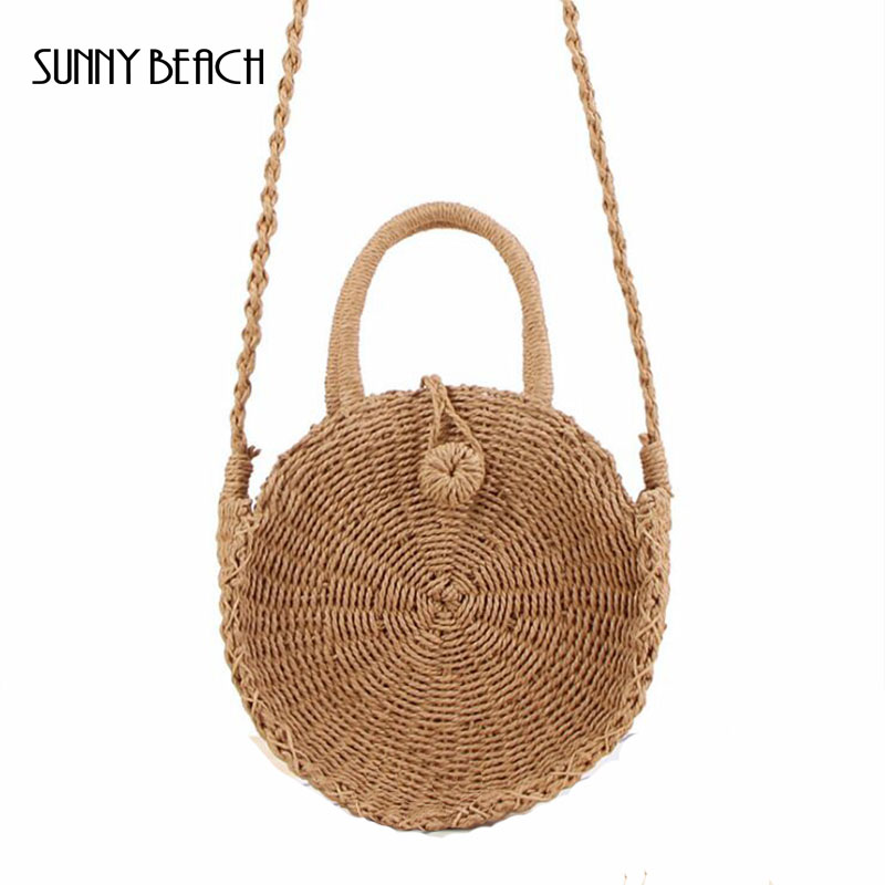 Provided Sunny Beach Bali Island Hand Woven Bag Round Bag Buckle Rattan Straw Bags Satchel Wind Bohemia Beach Circle Bag Top-handle Bags