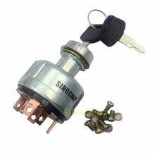 Interruptor De Ignição para Hitachi Escavadeira EX200-1 6 pinos Chave com 2 pcs Chave