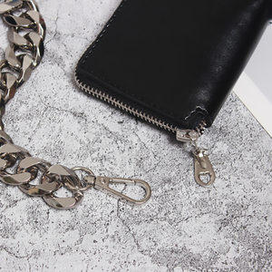 Image 5 - [EAM] 2020 New Spring Summer Pu Leather Mini bag Chain Split Joint Personality Women Long Accessories Fashion All match JU458