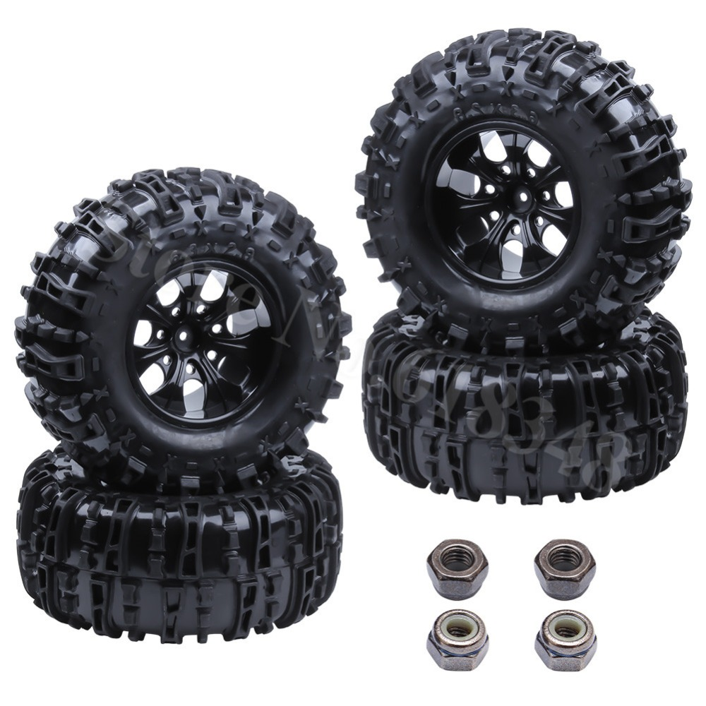 4Pcs 155mm RC Tires Wheel Rims Foam Inserts For 1/10 Monster Truck Tyres HSP HPI Traxxas Himoto Redcat Kyosho Tamiya Racing Losi 4pcs rc monster truck wheel rim tires kit for 1 10 traxxas tamiya hsp hpi kyosho rc trucks car rubber tyre parts