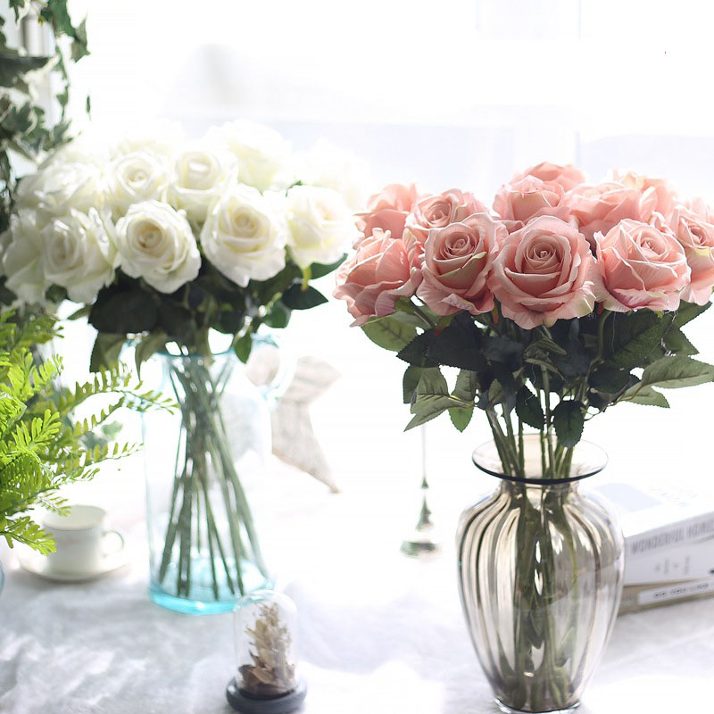 rose silk flowers wedding flowers real touch roses artificial the flowers flores Bouquet Fake vase Flower Home Party Decoration-in Artificial & Dried Flowers from Home & Garden