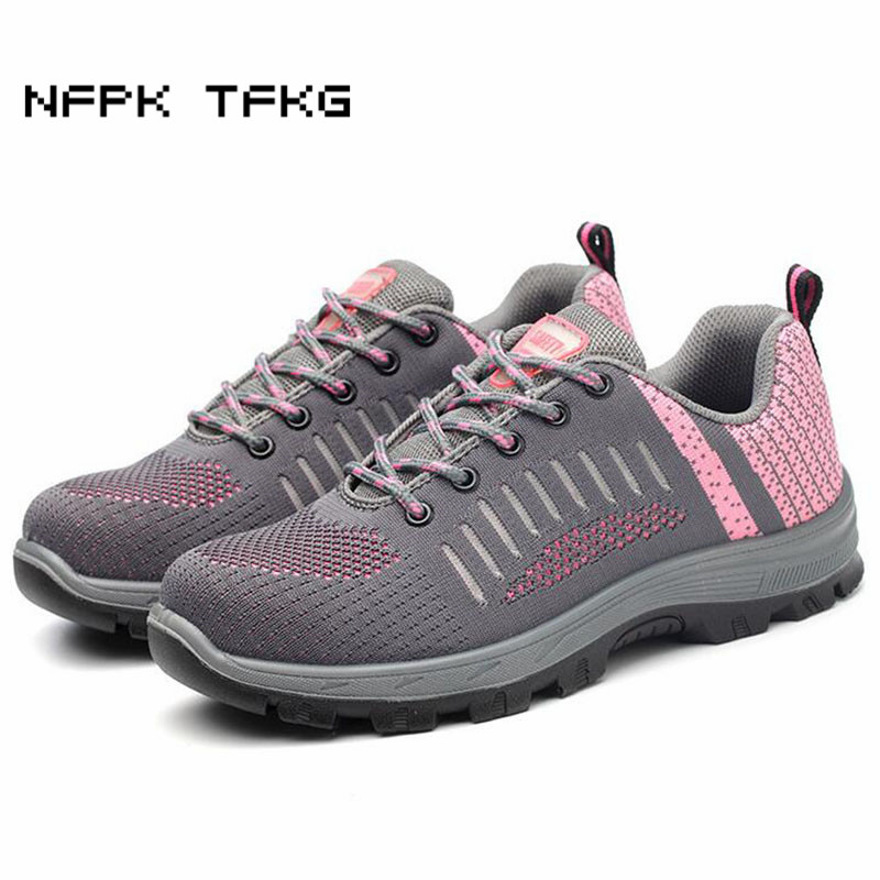 women big size casual pink steel toe cap working safety shoes anti pierce platform sneakers building
