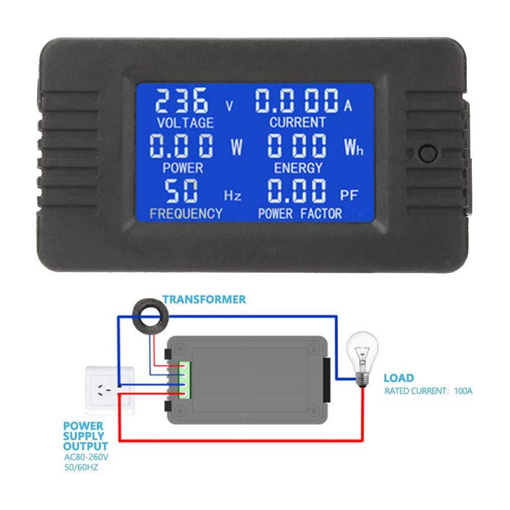 LED แรงดันไฟฟ้า Meter Current ความถี่มัลติฟังก์ชั่ไฟฟ้าพารามิเตอร์การวัด Overload ALARM LCD