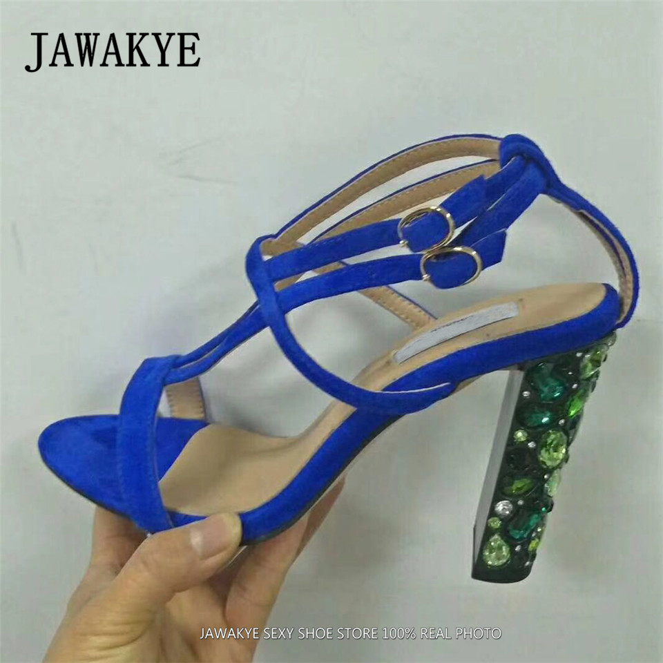 New Sexy Blue Suede Sandals Women Cool Rhinestone Jeweled High Heels Shoes Summer Cut outs Ankle Strap Party Shoes Pumps JAWAKYE