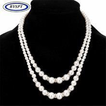 BYSPT Trendy Multilayer Simulated Pearl Necklaces For Women Wedding Jewelry Statement Rhinestones Beaded Necklace For Women Gift